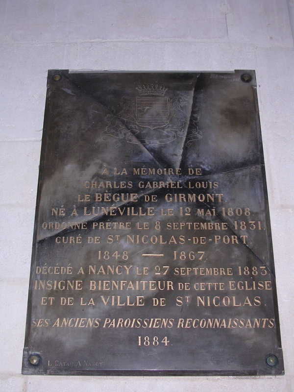 plaque le bègue de Girmont